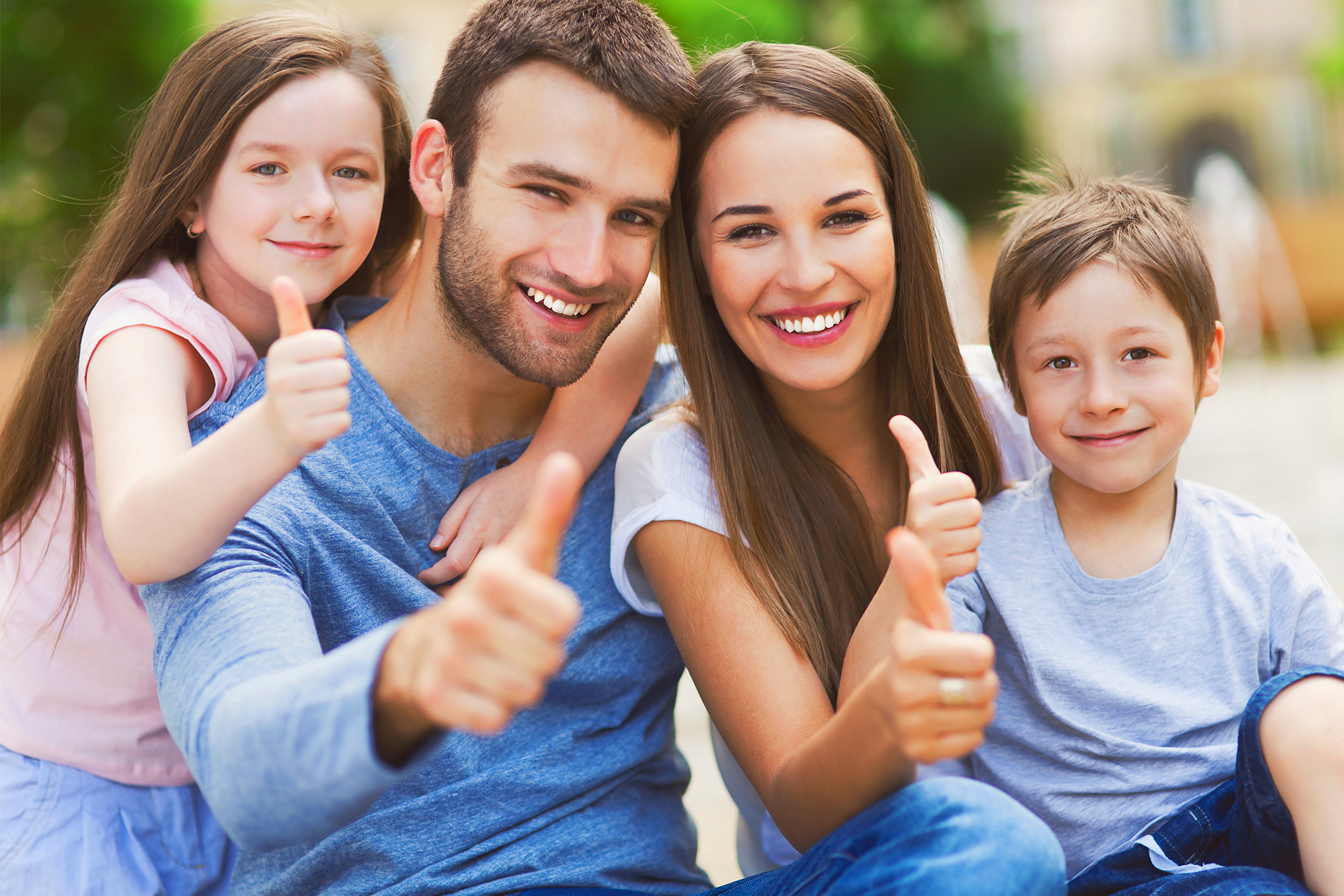 A Family Holding Thumbs Up In Comfort By Knowing the Law Provides Various Family Law Rights